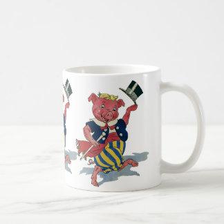 Vintage Humor, Cute Happy Dancing Pig Dances Coffee Mug