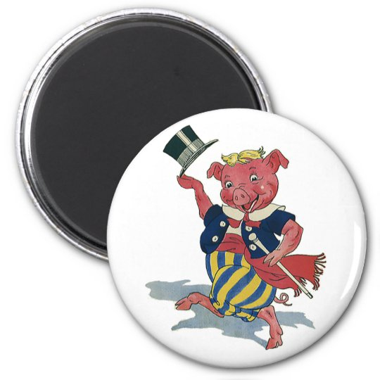 Vintage Humor, Cute Happy Dancing Pig Dances Magnet