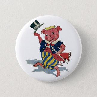 Vintage Humor, Cute Happy Dancing Pig Dances Pinback Button