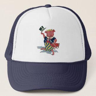 Vintage Humor, Cute Happy Dancing Pig Dances Trucker Hat