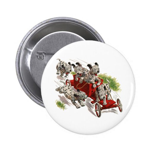 Vintage Humor, Dalmatian Puppy Dogs Fire Truck Pinback Buttons