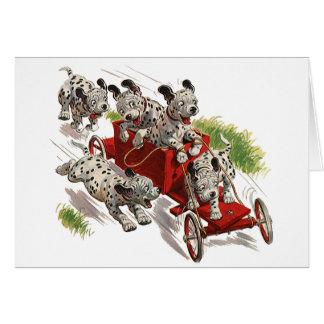 Vintage Humor Dalmatian Puppy Dogs Fire Truck Greeting Card