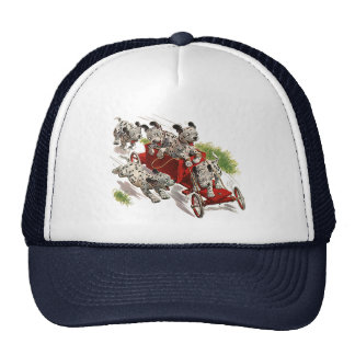 Vintage Humor, Dalmatian Puppy Dogs Fire Truck Mesh Hats