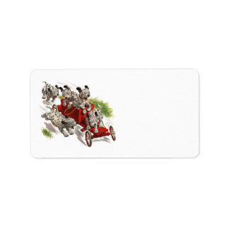 Vintage Humor, Dalmatian Puppy Dogs Fire Truck Custom Address Label