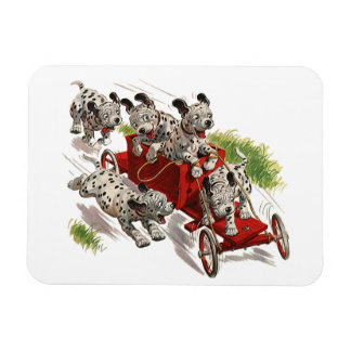 Vintage Humor, Dalmatian Puppy Dogs Fire Truck Rectangular Magnets