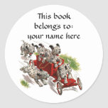 Vintage Humor, Dalmatian Puppy Dogs Fire Truck Stickers