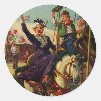 Vintage Humor, Grandma on a Merry-Go-Round Horse Classic Round Sticker