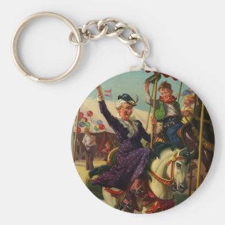 Vintage Humor, Grandma on a Merry-Go-Round Horse Keychain