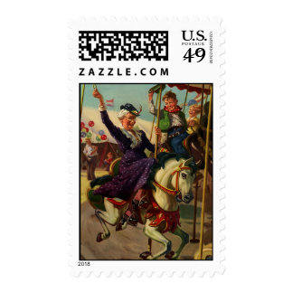 Vintage Humor, Grandma on a Merry-Go-Round Horse Postage