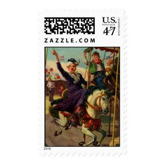 Vintage Humor, Grandma on a Merry-Go-Round Horse Postage Stamp