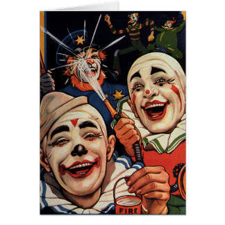 Vintage Humor, Laughing Circus Clowns and Police Card