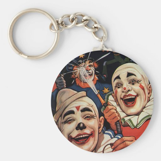 Vintage Humor, Laughing Circus Clowns and Police Keychain