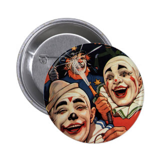 Vintage Humor, Laughing Circus Clowns and Police Pinback Button