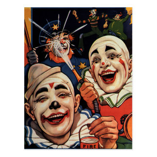 Vintage Humor, Laughing Circus Clowns and Police Postcard