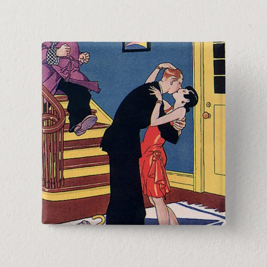 Vintage Humor, Love and Romance, Late Night Kiss Button