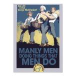 "Vintage Humor Manly MEN 5"" X 7"" Invitation Card"