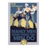 Vintage Humor Manly MEN Custom Invitations