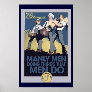 Vintage Humor Manly MEN Poster