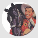 Vintage Humor, Music, Cowboy Singing to his Horse Round Sticker