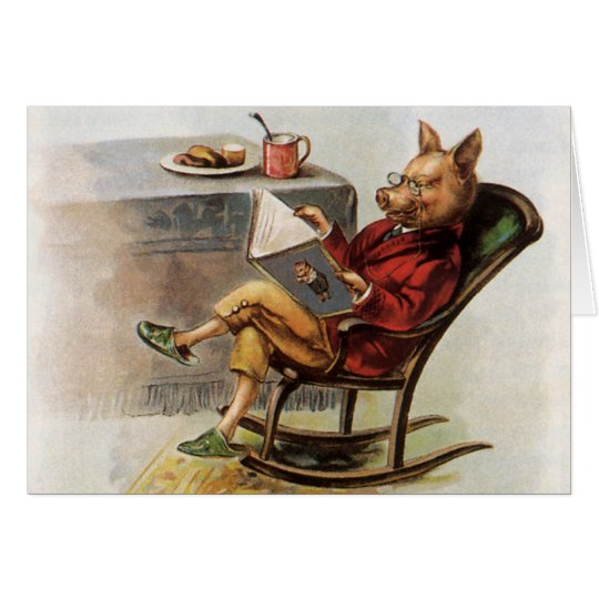 Vintage Humor, Pig in Rocking Chair Reading a Book Card