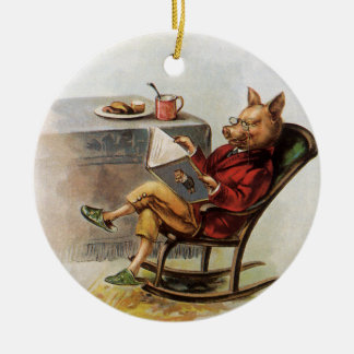 Vintage Humor, Pig in Rocking Chair Reading a Book Ceramic Ornament