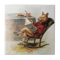 Vintage Humor, Pig in Rocking Chair Reading a Book Ceramic Tile