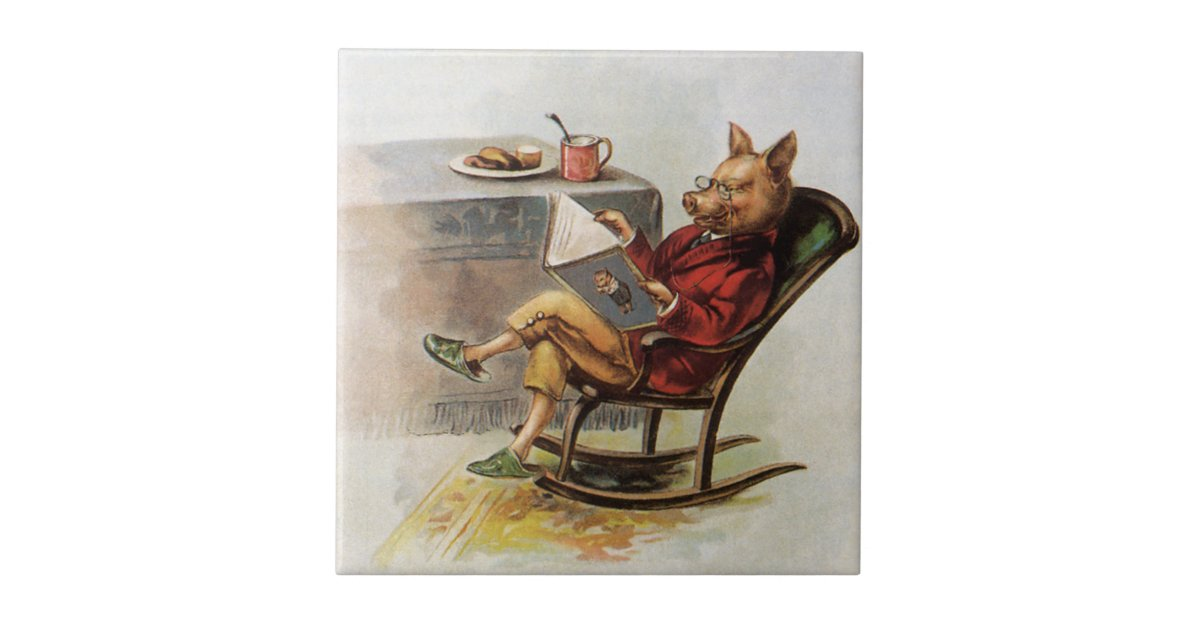 Vintage Humor Pig In Rocking Chair Reading A Book Ceramic