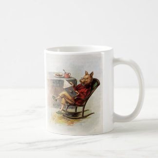 Vintage Humor, Pig in Rocking Chair Reading a Book Coffee Mug