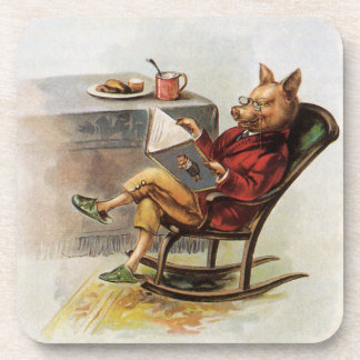 Vintage Humor, Pig in Rocking Chair Reading a Book Drink Coaster