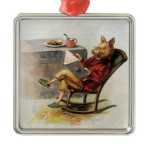 Vintage Humor, Pig in Rocking Chair Reading a Book Metal Ornament