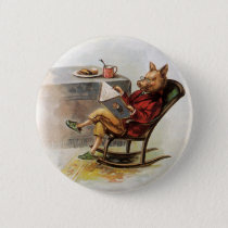 Vintage Humor, Pig in Rocking Chair Reading a Book Pinback Button