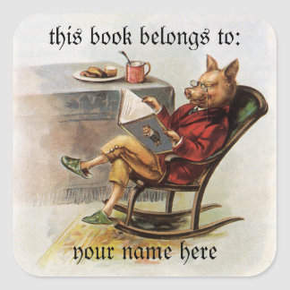 Vintage Humor, Pig Reading a Book Bookplate