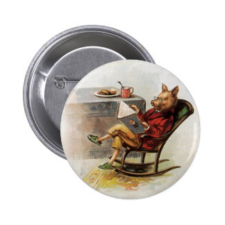Vintage Humor, Pig Reading a Book in Rocking Chair 2 Inch Round Button