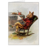 Vintage Humor, Pig Reading a Book in Rocking Chair Stationery Note Card