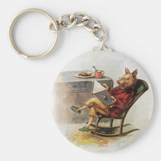 Vintage Humor, Pig Reading a Book in Rocking Chair Basic Round Button Keychain