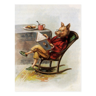 Vintage Humor, Pig Reading a Book in Rocking Chair Post Card