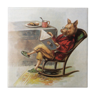 Vintage Humor Pig Reading a Book in Rocking Chair Tiles