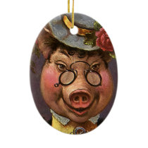 Vintage Humor, Silly and Funny Victorian Lady Pig Ceramic Ornament