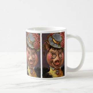 Vintage Humor, Silly and Funny Victorian Lady Pig Coffee Mug