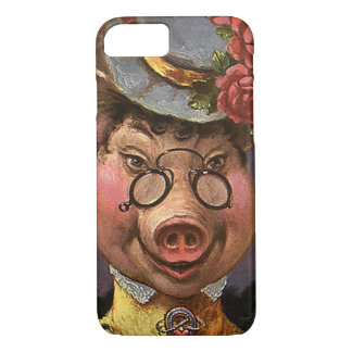 Vintage Humor, Silly and Funny Victorian Lady Pig iPhone 7 Case