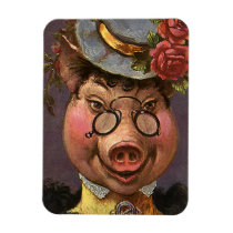 Vintage Humor, Silly and Funny Victorian Lady Pig Magnet