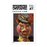 Vintage Humor, Silly and Funny Victorian Lady Pig Postage Stamp