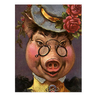Vintage Humor, Silly and Funny Victorian Lady Pig Postcard