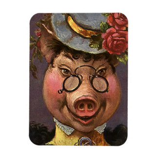 Vintage Humor, Silly and Funny Victorian Lady Pig Rectangular Photo Magnet