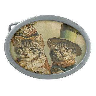 Vintage Humor, Victorian Bride Groom Cats in Hats Belt Buckle