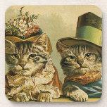 Vintage Humor, Victorian Bride Groom Cats in Hats Beverage Coaster