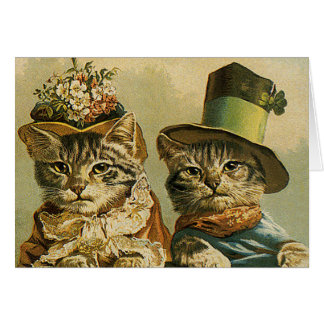 Vintage Humor, Victorian Bride Groom Cats in Hats Card