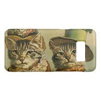 Vintage Humor, Victorian Bride Groom Cats in Hats Case-Mate Samsung Galaxy S8 Case