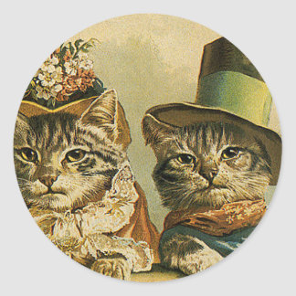 Vintage Humor, Victorian Bride Groom Cats in Hats Classic Round Sticker