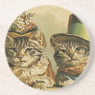 Vintage Humor, Victorian Bride Groom Cats in Hats Drink Coaster